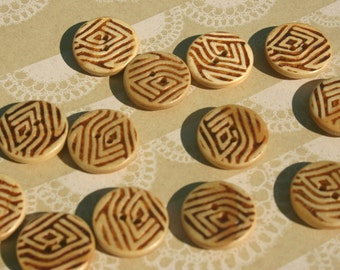"Wood Buttons - Tribal Print Bulk Sewing Wooden Button - 13/16"" Wide - 12 Buttons"