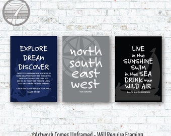 Boys Teens Inspirational Author Quotes Art Prints // Twain, Emerson // Set of (3) 5x7 or 8x10 Navy, Grey, Black // Nautical Theme - Unframed