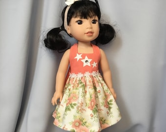 14.5 Inch Doll Clothes Halter Top Summer Dress with Headband for dolls like Wellie Wishers