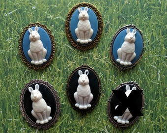 Blue and Black and White Bunny Rabbit Cameo