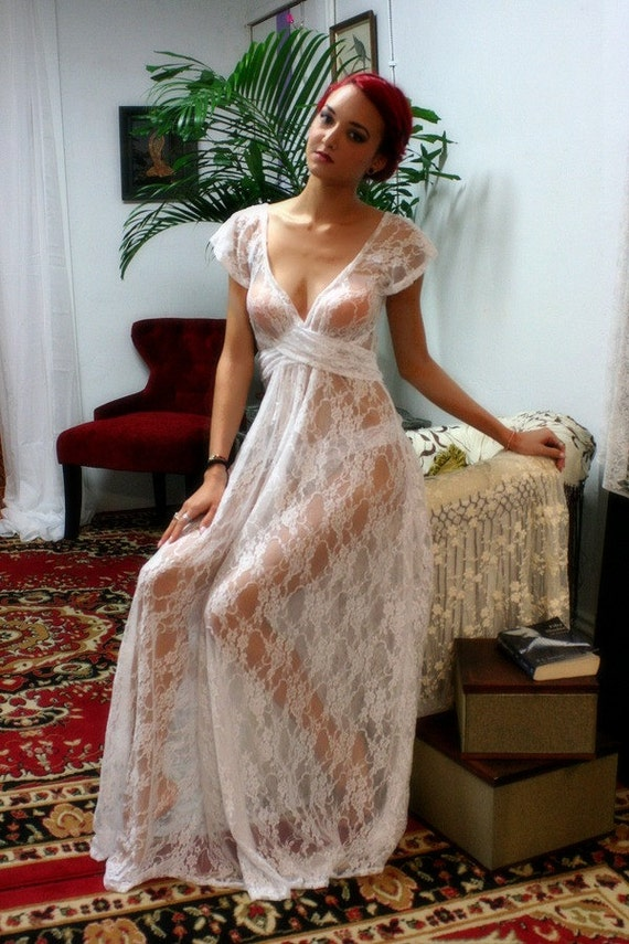 White Lace Bridal Nightgown Full Sweep Capelet Sleeve Wedding