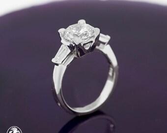 Classic Engagement Ring, Classic Baguette Engagement Ring, Baguette Diamond Semi Mount, Brilliant Diamond Engagement Ring | LDR02636