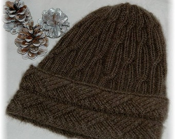 """Hat for Men / Women """"Malcolm Island"""", hand knit in soft and extremely warm 100% Qiviut (Musk ox Under Down) with cabled band MADE TO ORDER"""
