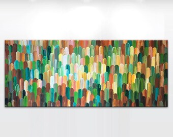 MADE2ORDER XXLarge Original painting - 'Arbores autumn' - ready to hang. Brown, earthy landscape, cream, beige, green - OOK