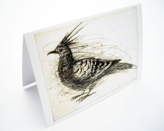 Crested Pigeon Card, Greeting Card, Bird Art Card
