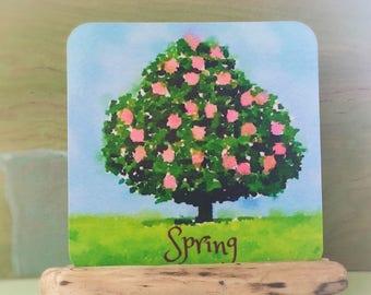 Four seasons Cards, Waldorf nature table, nursery, kids room decor, tree seasons, spring, summer, fall, winter, four season art