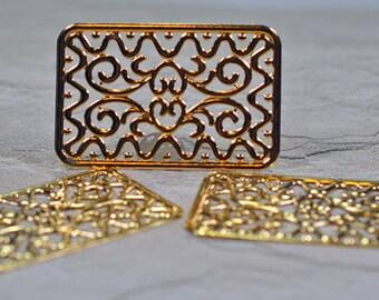 Gold plated brass rectangle pendants, 49x32mm, #622