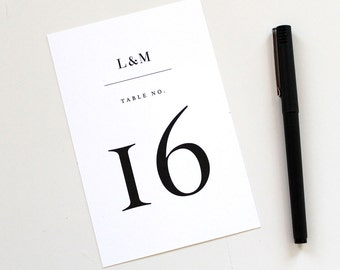Modern Table Numbers, wedding table number, modern table numbers, Serif table number, black and white table number, simple table numbers