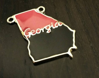 Enamel Georgia State Pendant in Red and Black
