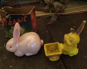 Old Antique Easter Toys Pink Rabbit & Yellow Rabbit Hard Plastic Old Box
