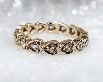 Vintage 1966 9ct Yellow Gold Spinel Heart Eternity Wedding Band Ring / Size K