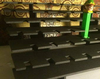 51 PEZ Display Shelf Stadium Style - Holds 51 Dispensers - Black or White