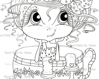 INSTANT DOWNLOAD Digital Digi Stamps Big Eye Big Head Dolls NEW Besties Giggle Box IMG272 My Besties By Sherri Baldy