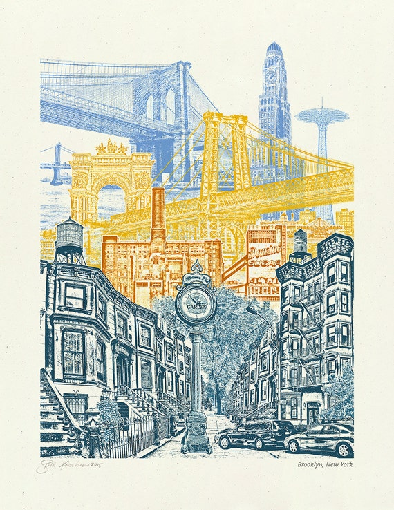 Brooklyn Art // Print // Wall art // New York Art // Collage // Cityscape // Brooklyn, New York - 8.5x11, 11x14, and 16x20 Poster