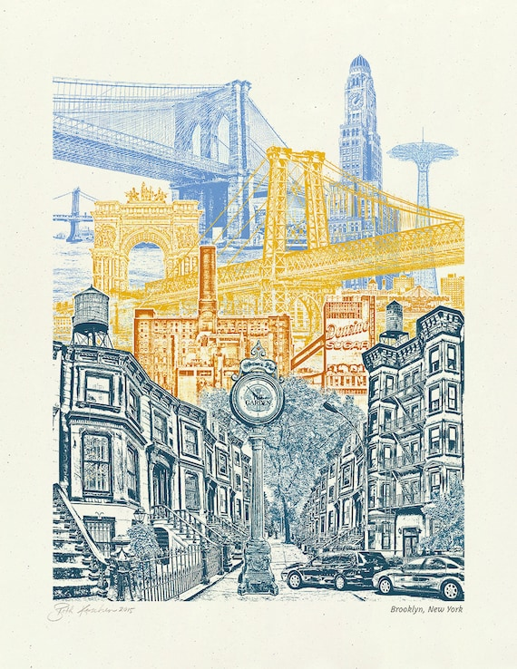 Brooklyn Art // Print // Wall art // New York Art // Collage