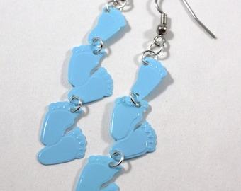 Baby Shower Earrings Baby Footprint Earrings It's a Boy Pastel Baby Blue Dangles Plastic Sequins