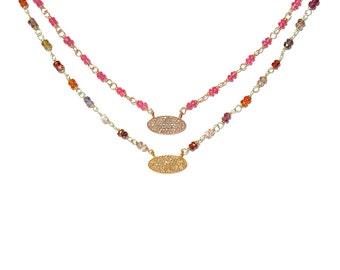 18K Pave Diamant ovalen Rubellit & Multi-Farbe Saphir Kette