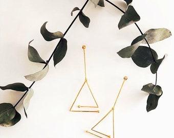 AHALAMAH- Long Gold-plated Bronze Earrings