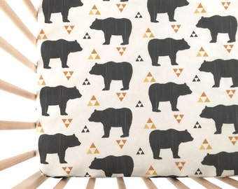 Crib Sheet Bears and Triangles. Fitted Crib Sheet. Baby Bedding. Crib Bedding. Crib Sheets. Bear Crib Sheet.