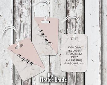 Set of 3, 4, 5, 6, 7,  Metal Luggage Tags, Luggage Tags, Personalized, Bridesmaids Gifts, Travel, Gifts, custom, marble, Accessories, modern