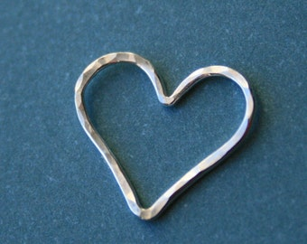 Sterling Silver HEART Charms Pendants Links Connectors, Hammered, 15.5x14 mm,  weddings brides bridal bridesmaids gifts