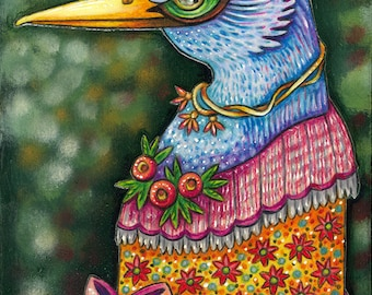 "Sevanne - an 8 x 10"" ART PRINT of a whimsical blue swan character who loves knitting and flowery fashions and bits of ribbon and old lace"