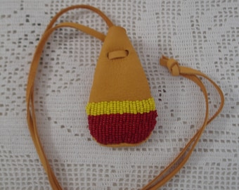Red and Yellow beaded deerhide amulet pouch