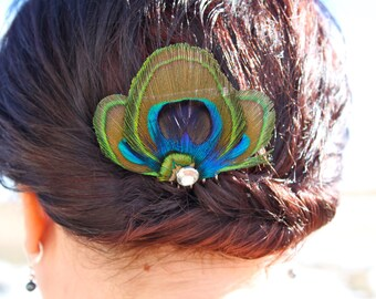 AMELIA in Blue Peacock Feather Hair Comb, Fascinator