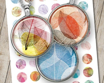 """Transparent Leaves 1 inch round Digital Collage Sheet 1"""" bottle cap images 30mm 25mm 1.25"""", 1.5"""" circles printable download cabochon jewelry"""