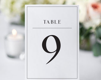 Printable modern table numbers, Modern table number, DIY table numbers, Classic table number, Wedding table decor, Seating plan