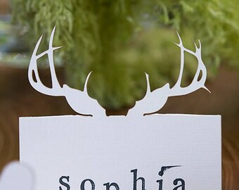24 x Laser cut Deer Antlers folded place card - Wedding table name cards - 6 colours