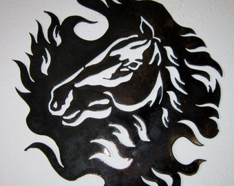 Horse in Wind-Metal Art-Country Art-Rustic-Equine