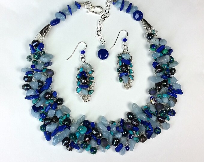 Bluesy Wire Crocheted Necklace Set - Semiprecious Gems Jewelry - Multi Gemstone Jewelry - Adjustable Length - Woven and Crochet Jewelry
