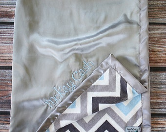 Baby Blanket, Chevron blanket, boy blanket, embroidered blanket, personalized blanket, blanket with name, blue and silver, soft blanket