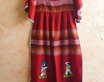 Embroidered Guatemalan Dress Caftan Boho House Dress Hippie Red Dress Bright Traditional Weave Cotton Frida Kahlo Perfect Gift For Yourself