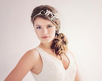 Bohemian Bridal Hair Accessories, Boho Bridal Headpiece, The Evangelina blush Bridal Halo Headpiece #200