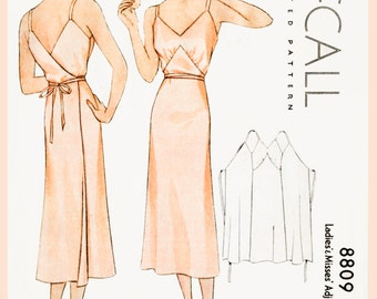 1930s 30s vintage lingerie sewing pattern Art Deco wrap dress slip negligee bust 32 34 36 38 40 repro reproduction