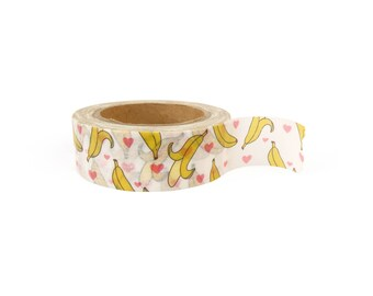 Washi tape - Bananas with hearts, stationery, stationary, LittleLeftyLou, Snail Mail, Happy mail, masking tape, 10 meter, fruit tape, banana