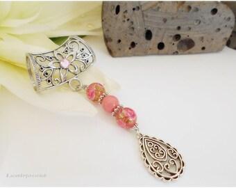 Bijou de foulard, attache foulard, bijou pour écharpe, bijou attache foulard rose, attache pour foulards arabesque, pour femme, romantique