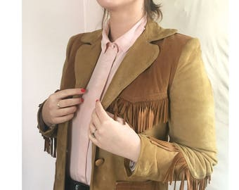 suede 1970s  jacket / brown  leather  /vintage 70s  jacket/ leather jacket/ suede jacket/vintage leather  jacket/ seventies western jacket