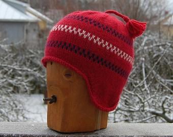 100 % Wool Pippi Longstocking Style Earflap Hat