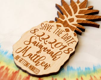 Save the date, save the date magnet, Pineapple save the date magnets, rustic save the date, wooden save the dates, pineapple magnets, 25 pc