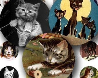 Cats and Kittens in 1 inch circles for bottlecaps, disc its and more -- piddix digital collage sheet no. 344