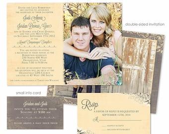 Photoshop Template - Romantic Vintage Wedding Invitation - Photo Card WA075