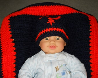 Thin Red Line/Thin Blue Line Infant-Child's Crocheted Football Beanie; Team Colors Infant/Toddler/Child's Football Beanie/Hat/Cap