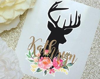Deer Floral Monogram Decal, Deer decal, Watercolor Flowers, Glossy and Glitter Monogram Sticker, Tumbler Decal, Printed Decal