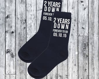 2nd Wedding Anniversary Personalised with Date of Wedding Gift Husband Wife 2 Years Down Forever to go Black Socks married Cotton Gift