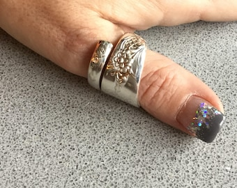 1950 Wood Rose silver spoon ring