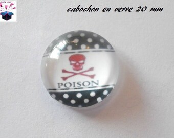 1 cabochon clear 20mm fish theme