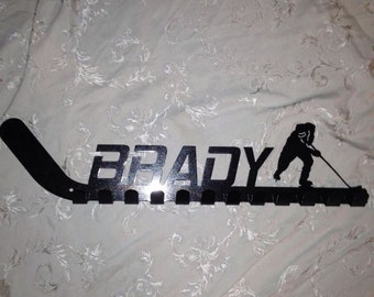 Large personalized hockey stick medal holder, hat holder, ect